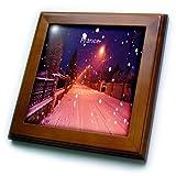 Florene - France - Print of Snowy Street In France Lit by Sodium Lights - Framed Tiles - 8x8 Framed Tile - ft_200426_1