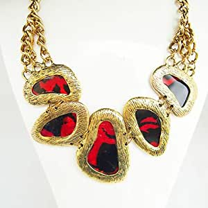 Red Stone Chunky Gold Fashion Statement Necklace Jewellery With Chain Link