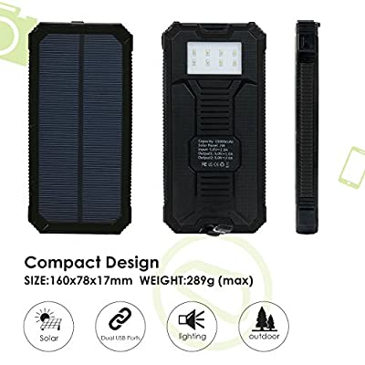 Solar Charger, Levin 15000mAh Solar Power Bank with 8 LED Flashlight Dual USB Port Solar Panel Portable Charger Outdoor Backup for iPhone, iPad, iPod, Cell Phone, Tablet, Camera(Pure Black) from Levin