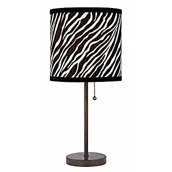 bronze pull chain table lamp with zebra drum shade. Black Bedroom Furniture Sets. Home Design Ideas