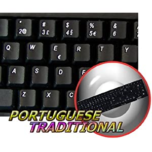 ENGLISH NON-TRANSPARENT KEYBOARD STICKERS ON BLACK BACKGROUND PORTUGUESE TRADITIONAL
