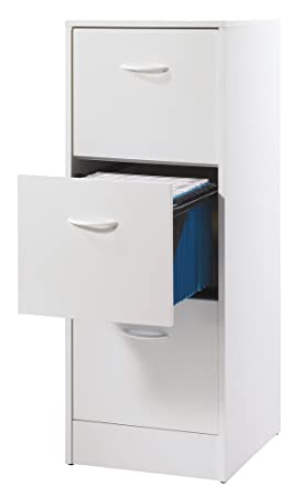 Simmob MATHA413BL - Archivador de 3 cajones para carpetas colgantes, madera, blanco, 44 x 41,4 x 108,4 cm.