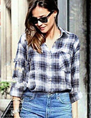 ZXR-femmes-de-carreaux-bleu-pour-femme-col-chemise--manches-longues