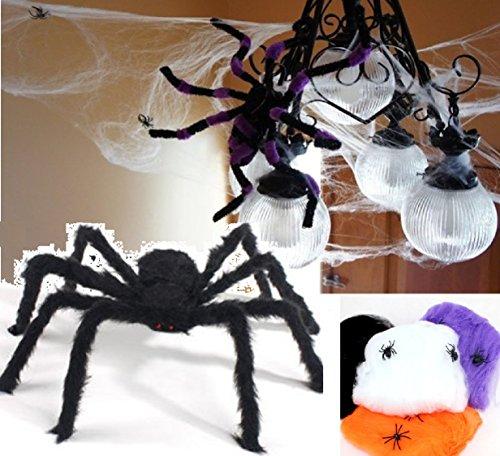 恐怖の館 蜘蛛 蜘蛛の糸 巨大クモ 黒蜘蛛 75cm と 蜘蛛 4cm スパイダーウェブ お化け屋敷 ホームデコレーション ハロウィン