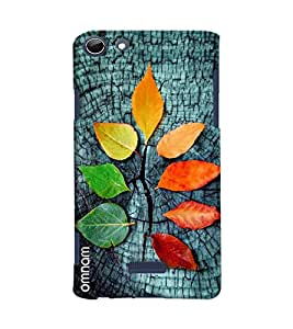 Omnam Colorful Leaves Effect On Stone Printed Designer Back Cover Case For Micromax Selfie 3 Q348