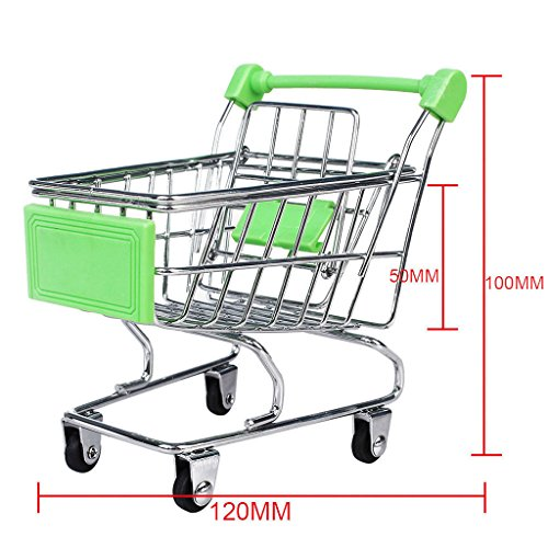 MagiDeal Kids Children Pretend Play Mini Shopping Entertainment Fun Cart Trolley Home Room Office Decor Toy Gift Green