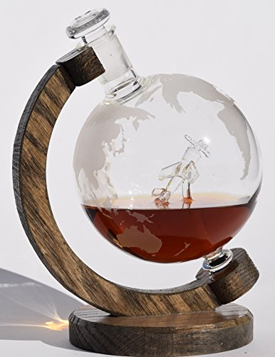 Etched Globe Airplane Liquor Decanter - 1000ml Lead-Free Glass Whiskey Decanter with Plane Inside for Scotch, Bourbon Rum, Wine or Liquor 34oz (P51-D Mustang) (Gentleman Jack Whisky compare prices)