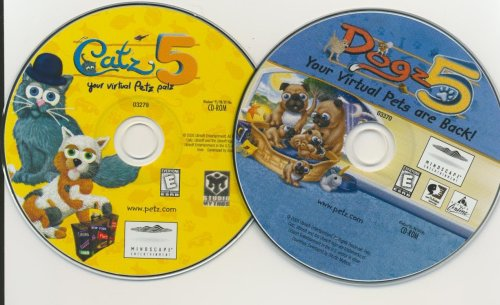 Lot 2 Dogz 5 & Catz 5 Your Virtual Petz Palz Dogz5 Catz5 Pc Vista Xp Computer Game Cd