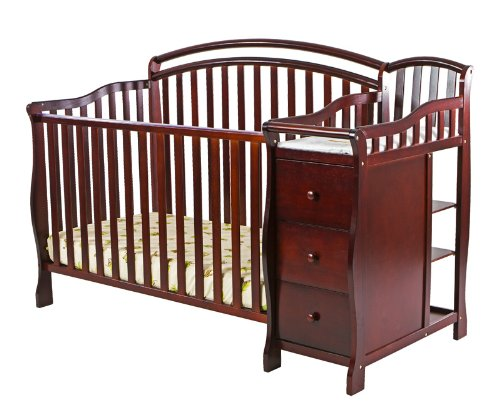 Dream On Me Hailee 4 In 1 Crib And Dressing Table Combo, Cherry