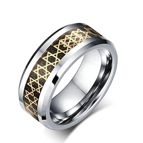alimab gioielli anelli da uomo in tungsteno Fedi Smooth Esagramma, tungsteno, 13,5, colore: argento, cod. BWNSXDE2281