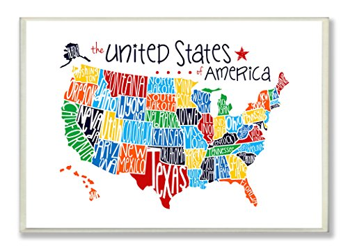 The Kids Room by Stupell USA Rainbow Typography Map on White Background Rectangle Wall Plaque