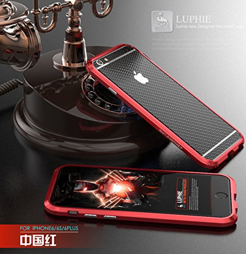 For iPhone 6 6S,Janacy Deluxe Aluminum Metal Bumper Soft Carbon Fiber Sticker Back Case Cover For iphone 6 6S Red (Carbon Iphone 6 Case compare prices)