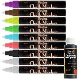 Uchida Bistro Chalk Marker Broad Point Fluorescent Colors 9 Piece Kit with FREE 2oz Black Chalkboard Paint