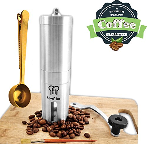 Silva Manual Coffee Grinder Set with Coffee Scoop, Brush and Extra Part - Hand Coffee Grinder l Manual Burr Grinder - Coffee Bean grinder - French Press Coffee Grinder Mill (Coffe Beans Grinder compare prices)