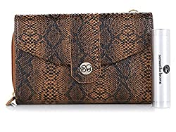 Samantha Brown Python-Embossed RFID Wallet Crossbody Purse With Charger ~ Brown/Black by Samantha Brown