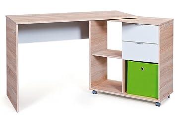 Bureau avec 2 tiroirs coloris blanc-sonoma - Dim : 120/156 x 50/89 x 86 cm -PEGANE-