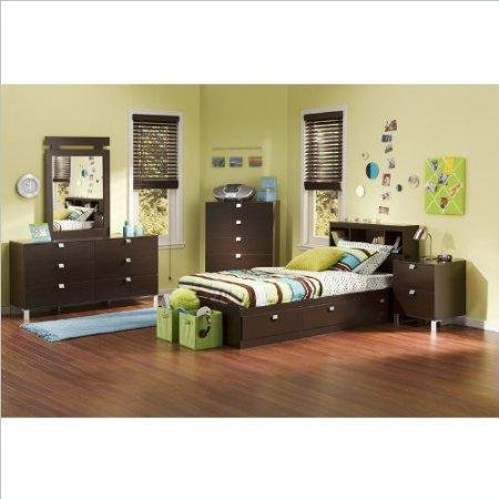 Cheap South Shore Cakao Kids Twin 4 Piece Bedroom Set with Bookcase Headboard in Chocolate (3259080-4PKG)