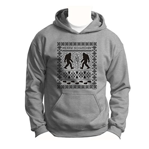 Ugly Christmas Sweater Sasquatch Youth Hoodie Sweatshirt Small Sport Grey