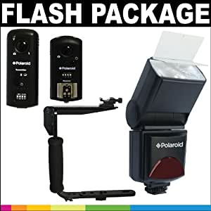 Polaroid Premium Package Deluxe: Polaroid PL-144AZ Studio Series Digital Power Zoom TTL Shoe Mount AF Flash With LCD Display + Polaroid Flip Mount Flash Bracket + Polaroid Tri-Mode Wireless Camera & Flash Remote (Wireless Flash Remote, Wireless Shutter Release, Wireless Studio Strobe Trigger) For The Nikon D7000, D3100, D5000, D90, D5100 Digital Cameras