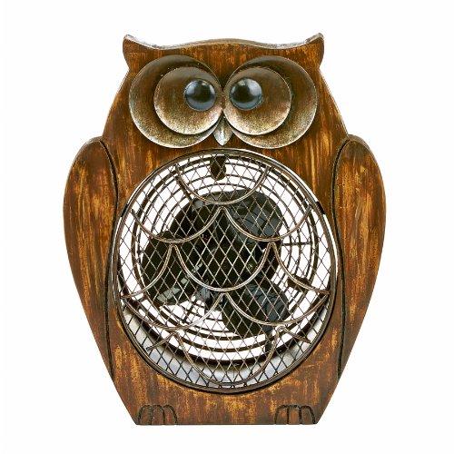 Decobreeze Dbf0109 Wood Owl Figurine Fan
