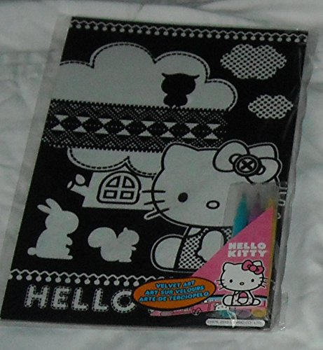 Hello Kitty - Velvet Art - Includes 3 Markers - Sitting Outside with the Animals - - 1