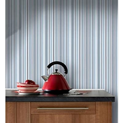 Barcode' Striped Wallpaper in Blue (Sample Only) from wallpaper heaven