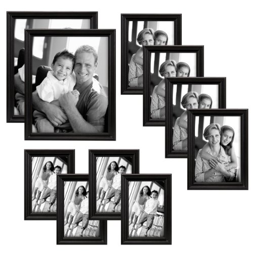 MCS Industries Solid Wood Frame Set, Set of 10, Black (65508) (Table Top Picture Frames compare prices)