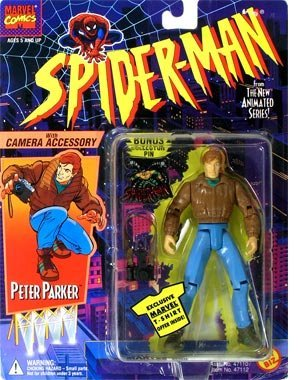 PETER PARKER * With Camera Accessory * 1994 Spider-Man The New Animated Series Action Figure & Bonus Collector Pin - 1