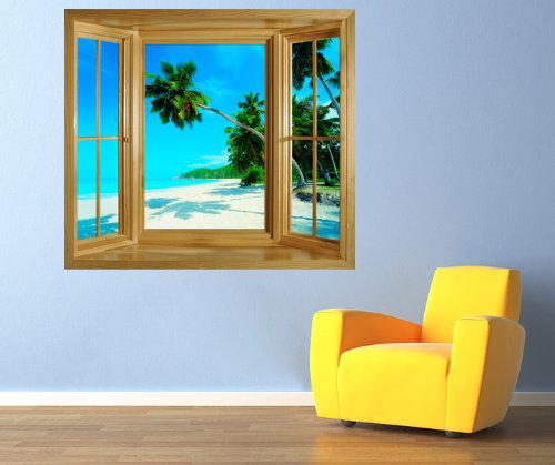 WINDOW MURAL PHOTO WALLPAPER SELF AHDESIVE WALL ART TROPICAL BEACH SCENE PALM TREE PICTURE