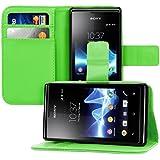 kwmobile Wallet Case Hülle für Sony Xperia E - Cover Flip Tasche mit Kartenfach und Ständerfunktion in Grün