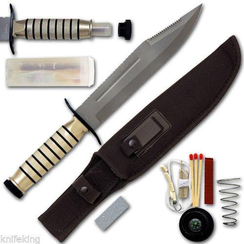 """Survivors Extreme Jungle Bowie Zombie Survival Knife 14.25"""" W/Kit"""