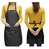 SODIAL(TM) Unisex 2 Pocket Black Kitchen Apron Bib, One Size in Medium