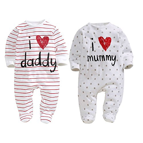 Unisex-Baby Newborn I Love Mummy I Love Daddy Bodysuit 2 Pack (3 months)