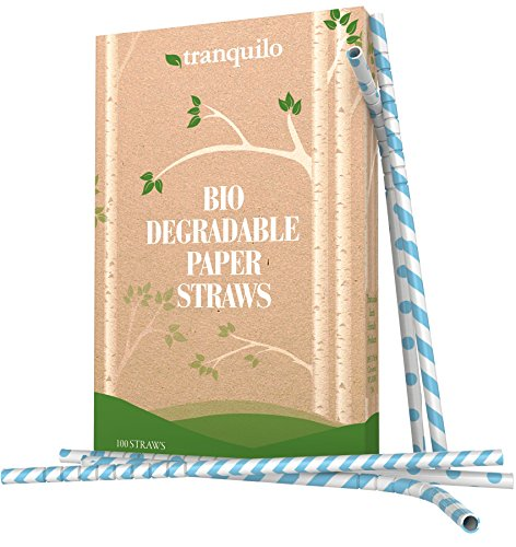 Paper Straws - Replacement Straws - Disposable Biodegradable Drinking Straws - Fun Straws Made From Wrapped Paper Are Better Than Plastic Straws - Box of 100 - Blue Paper Straws (Mustache Disposable Coffee Cups compare prices)