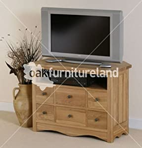 Cheap  Cairo Natural Solid Oak TV Corner Cabinet