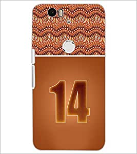 PrintDhaba Numerology Number 14 D-3647 Back Case Cover for HUAWEI NEXUS 6P (Multi-Coloured)