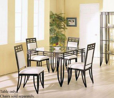 Cheap Square Dining Table with Glass Top Black Wrought Iron (VF_AM8214)