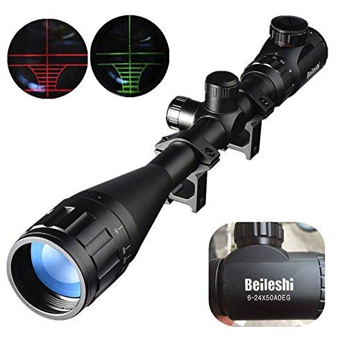 Beileshi 6-24X50mm AOEG Optics Hunting Rifle Scope Red/Green Illuminated Crosshair Gun Scope With Flip Up Scope Covers (Gun Scope compare prices)