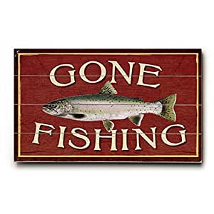 """Amazon.com - Gone Fishing 7.5""""x12"""" Solid Wood Sign Wall"""