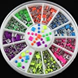 GOYESTORE New 2 Styles 6 Colors Neon Stud Rhinestone Fushion Nail Art DIY Decoration+free gift