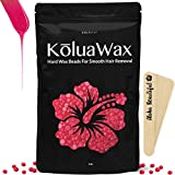 Hard Wax Beans for Painless Hair Removal (Large 1 lb Bag with Coconut Oil) - Smooth Facial and Body Hair Depilatory Pearl Beads for Wax Warmer Kit, Brazilian Bikini Waxing, KōluaWax for Women and Men