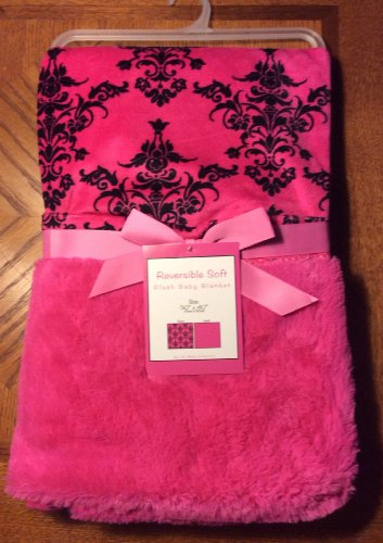 "Reversible Soft ""Rococco Hot Pink"" Baby Blanket - 1"