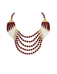 Pearl Beads Raani Haar- Red-White Valentine By Crunchy Fashion