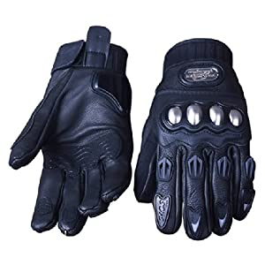 Men Black Motorcycle Cycling Bicycle Full Finger Protective Gloves (Large)
