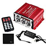 Kinter MA-600 2-Channel Output Digital Power Mini Amplifier AMP with Remote Control + 5A Power Supply + Tera Cloth for FM USB SD CD DVD MP3 Players