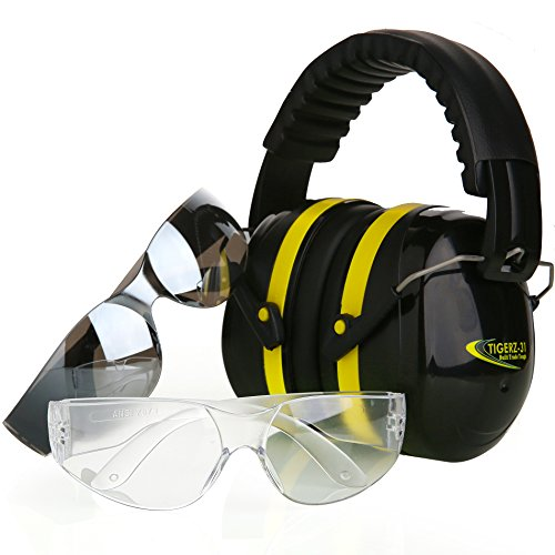 Tradesmart Shooting Earmuffs and Anti Fog, Scratch Resistant Safety Glasses Combo Pack / Kit | Active Noise Filtering Ear Protection For Firearms, Construction, Industrial, Aviation, Hunting & More (Shooting Range Glasses compare prices)