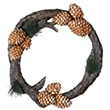 Cal Lighting Log and Pincone Wreath - Brown, WA-261WP