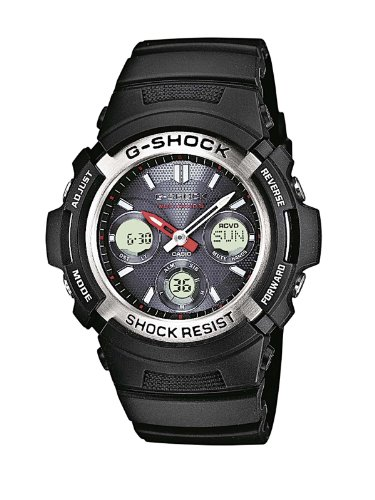 Casio G-Shock Men's Quartz Watch with Black Dial Analogue - Digital Display and Black Resin Strap AWG-M100-1AER