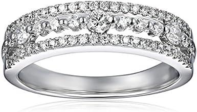 14k White Gold Wedding Band 34 cttw H-I Color I1-I2 Clarity