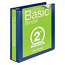 Wilson Jones 362 Line Basic Round Ring View Binder, 2-Inch Capacity, 8.5 x 11 Inch Sheet Size, Dark Blue (W362-44BL)